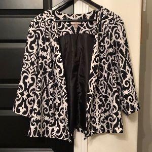 Black & White Damask Open Blazer